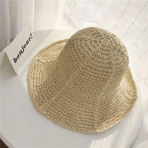 Summer Folding Hand-made Straw Hat Woven Colorful Stripe Hollow Sunscreen Sun Hat Beach Straw Hat