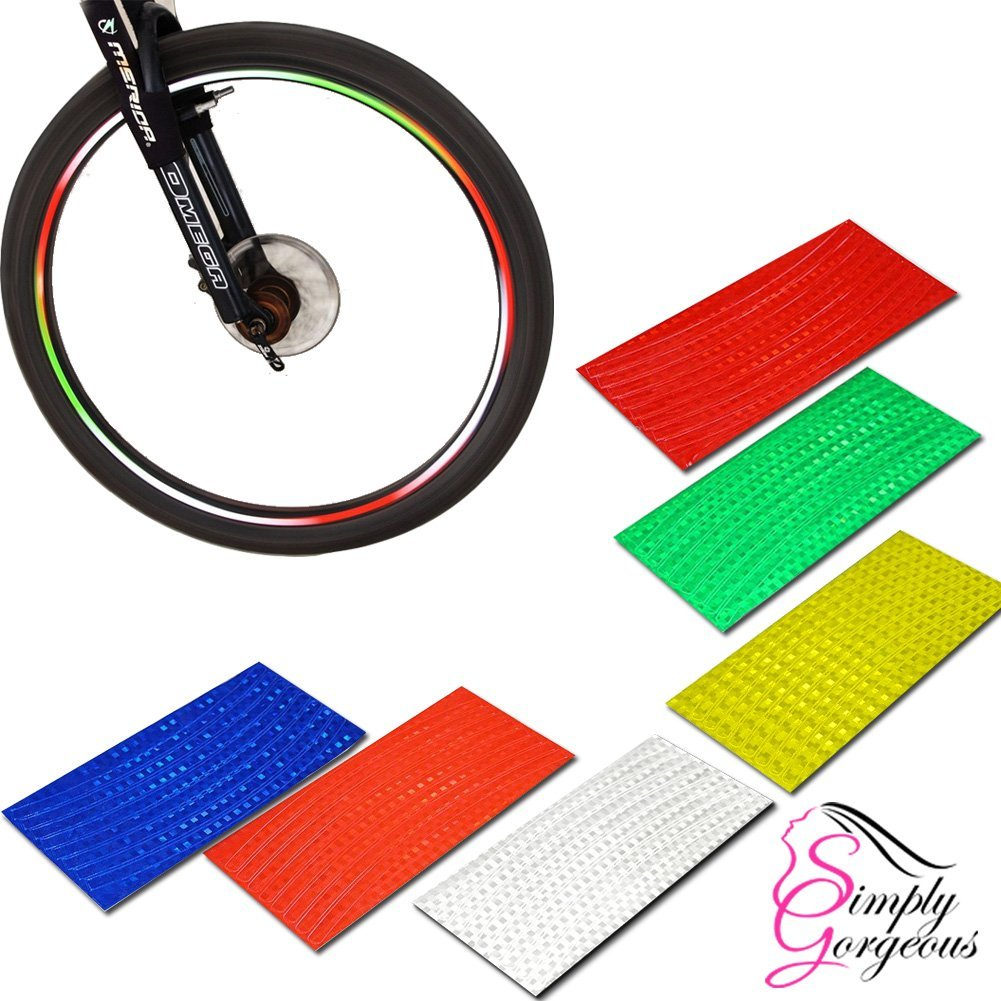 8MM 8Pcs Bicycle Bike Motorbike Reflective Rim Tape Wheel Sticker Trim Safety