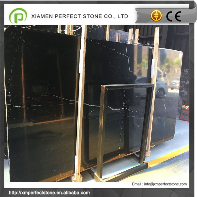 White stripe in black marquina marble slabs for sale