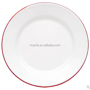 Dishwasher Safe Dinnerware Sets Enamelware Lunch Salad Flat Plate Solid White With Red