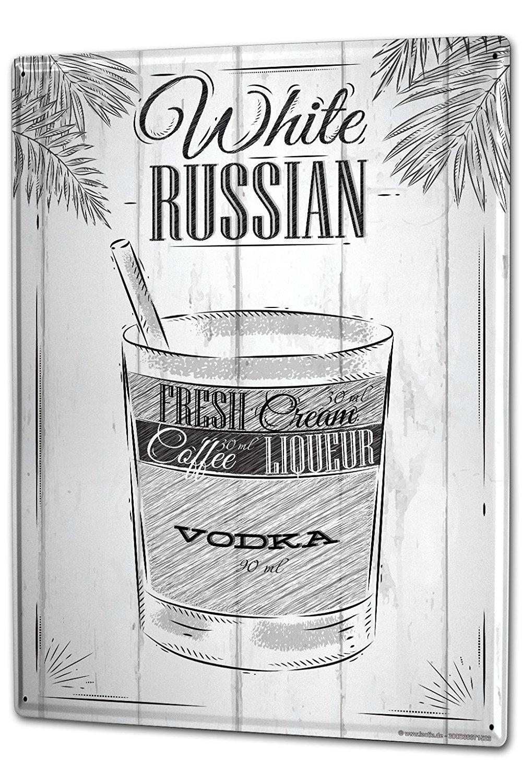 Tin Sign XXL metal plate plaque Alcohol Retro Russian bar white Kitchen