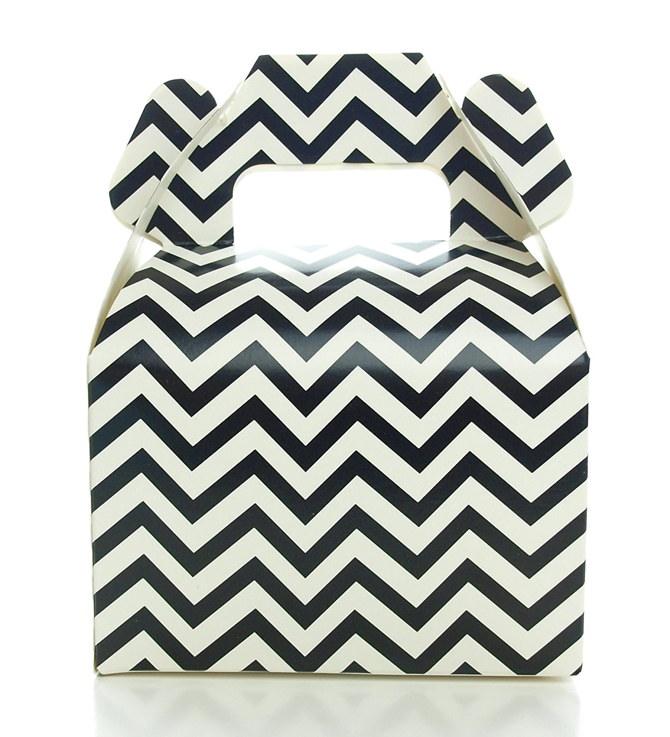 Black Candy Box, Mini Chevron Party Gift Boxes (12 Pack) - Black Birthday Party Supplies, Black Halloween Treat Boxes for Wedding Favors or Party Candy Favors