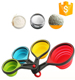 100% Food Grade Folding collapsible Silicone Measuring Spoon and Cup Set