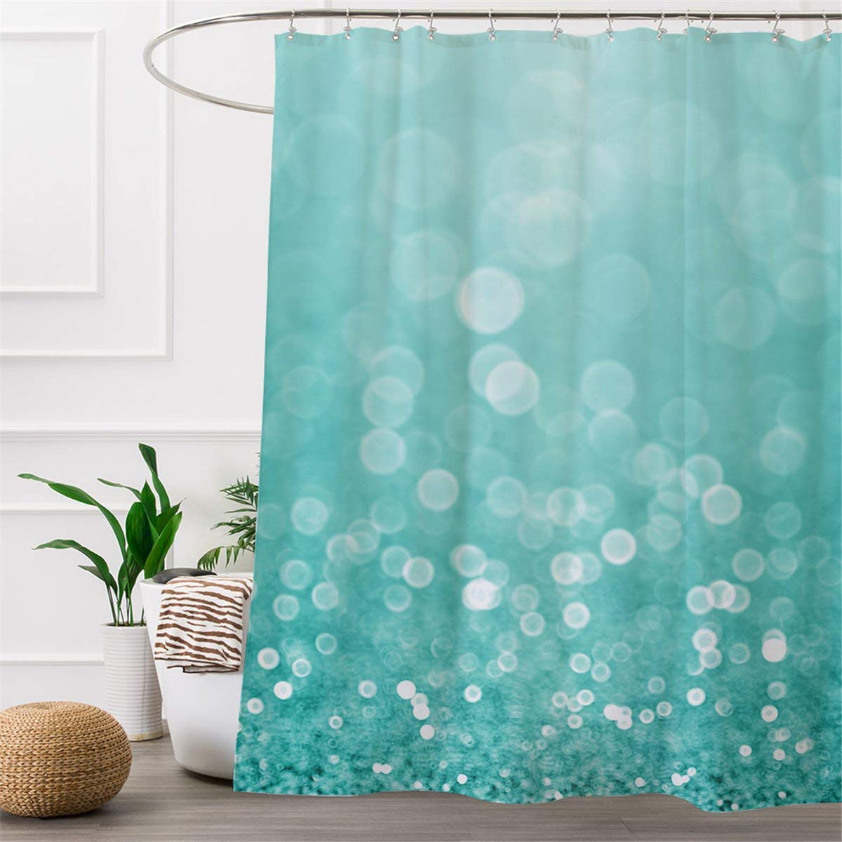 Get Quotations ARIGHTEX Water Bubble Bath Shower Curtain Turquoise Curtains For Women Waterproof Blue