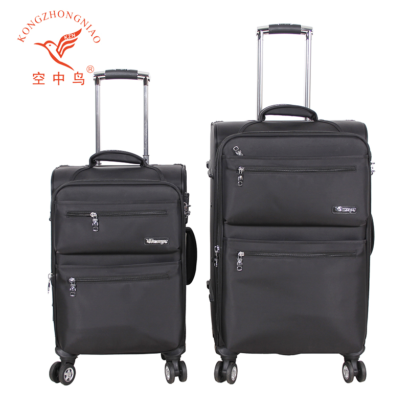 Nylon material spinner wheel good quality trolley luggage bags suitcase