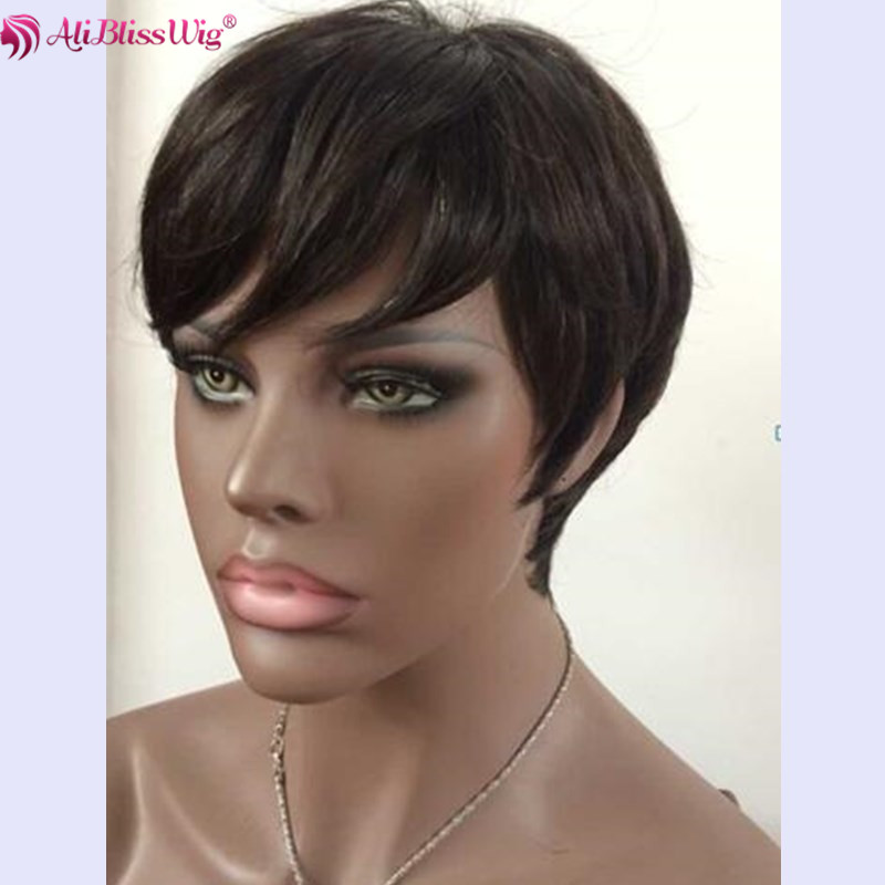 6 Inch short Cut Style Non lace Wigs With Full Bang Natural Color 130 Density Raw Indian Hair Machine Made Wig For Black Women фото