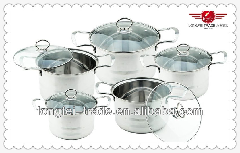 hot selling Upscale 10 pcs stainless cookware set/Stainless Steel Sauce Pot Steamer