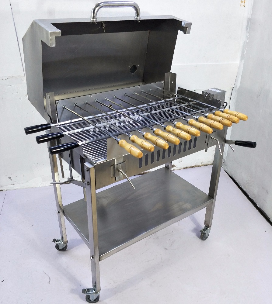 Garden Outdoor Charcoal Bbq Greek Brazilian Cyprus Style Rotating Rotisserie Grill With Hood