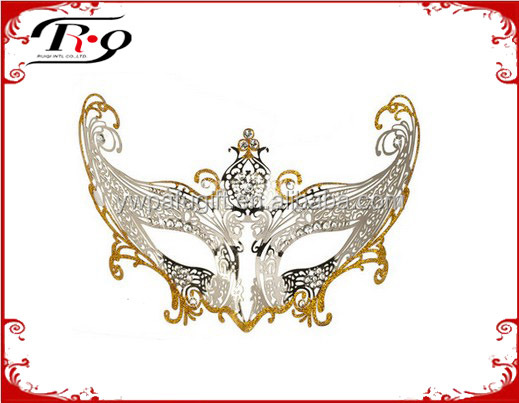 White Divine Metal Lace Gold and Silver Masquerade Party Mask