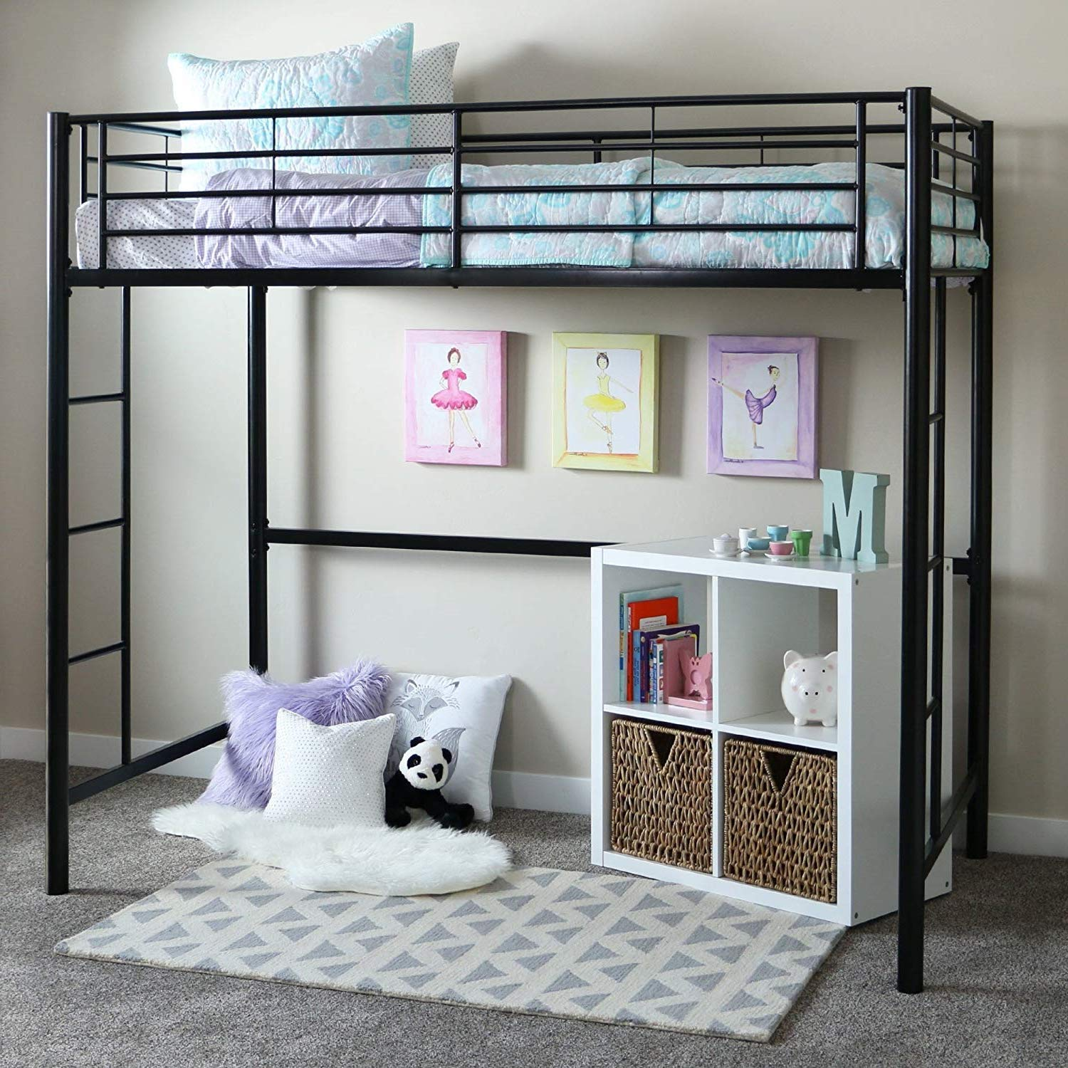 Bunk Beds for Kids Toddler Twin Metal Loft Black Your Child Will Sleep in Style and Great Solution for Your Space Saving Needs by HomeTeks