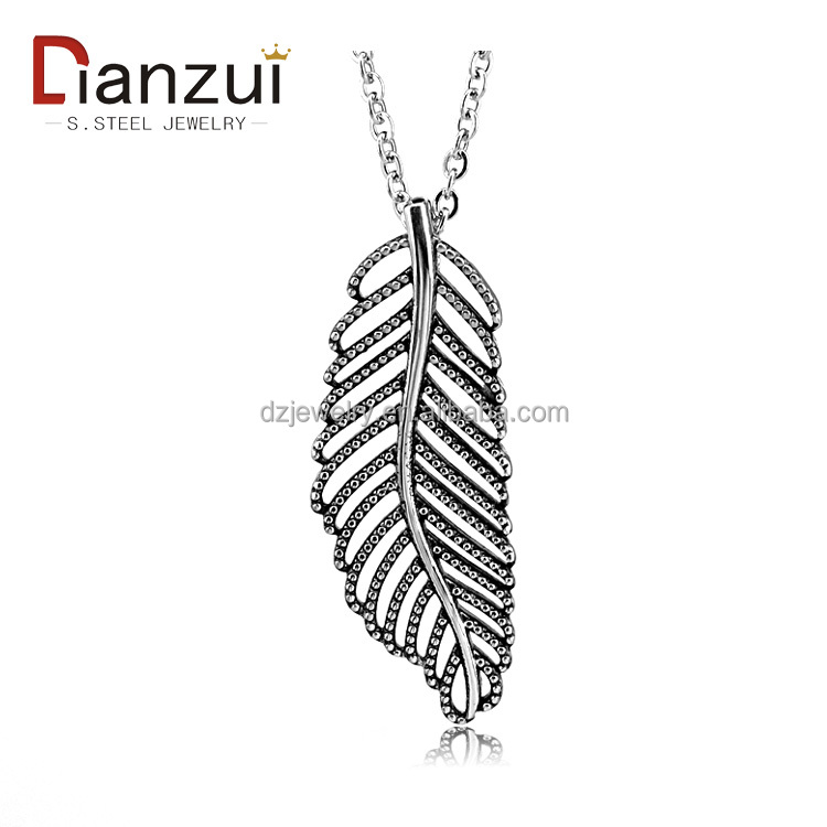 DP1025 hot sale Stainless Steel Restoring ancient ways leaves Pendant necklace