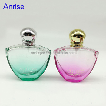 refillable 50ml colored glass empty perfume bottles with pump sprayer and round aluminum lids green - Colored Glass Bottles
