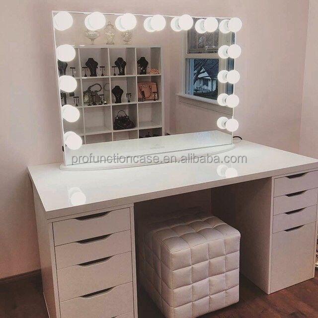 2016 nuevo maquillaje profesional mesa de tocador con 13 bombillas led blanco fr o de gran - Espejo con bombillas ikea ...