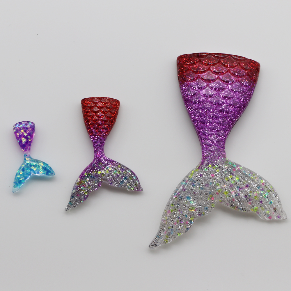 NEW  Mixed Glitter Mermaid Fish Tails Flatback Resin Cabochon Craft DIY U Choose