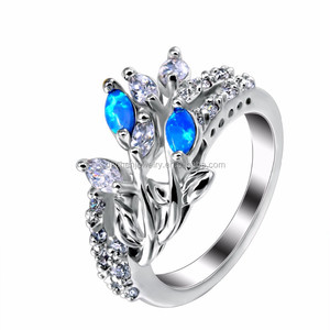 Beautiful Opal and Diamond 925 Sterling Silver Engagement Rings for Women