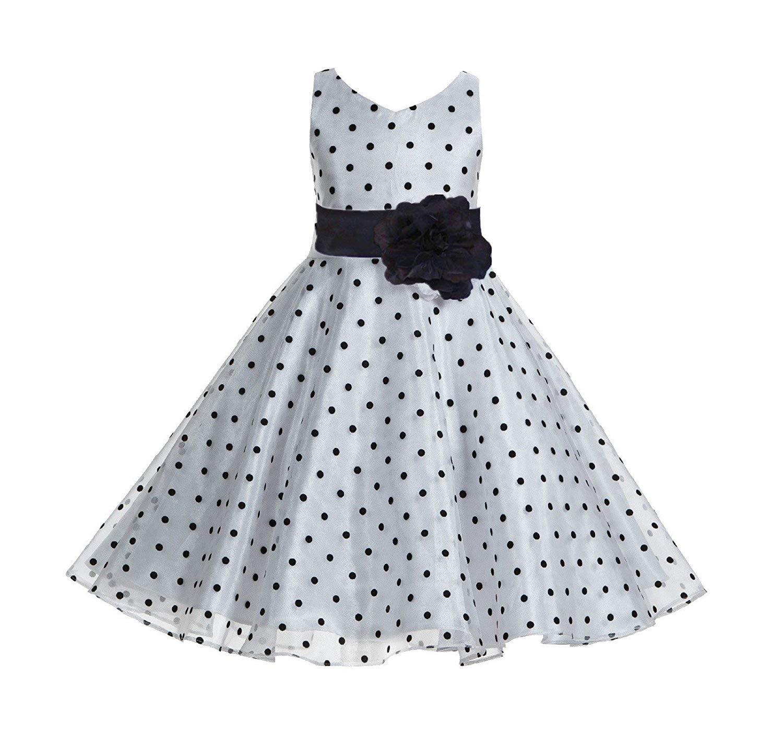 4af734720d3 Get Quotations · ekidsbridal Polka Dot V-Neck Rhinestone Organza Flower  Girl Dresses Graduation Dress Toddler Dresses 184T