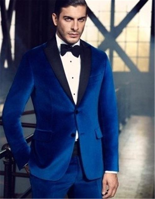 aef7bde34285 2019 Wholesale High Quality Royal Blue Velvet Man Blazer Groom ...