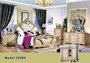 French Antique Luxury Louis Style Gold Bedroom Furniture Set Outstanding Royal Gold Plated