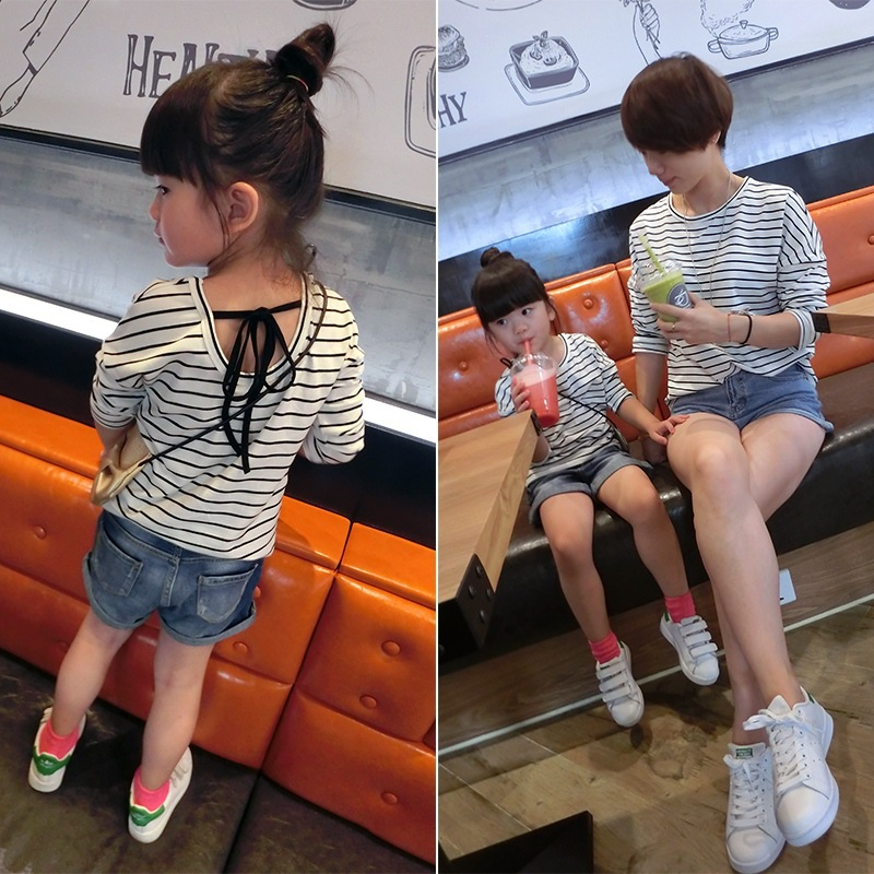 Fashion Family look autumn family clothes for girls mother and daughter t shirt cotton casual family