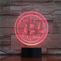 New Arrival Holiday Decor Gifts Cool Bitcoin Design 3d Acrylic Led Night Light 7 Color Changing Lamp Base