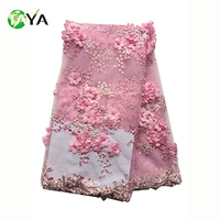 High quality cord 3d design bridal embroidery guipure tulle lace fabric beaded for wedding dress
