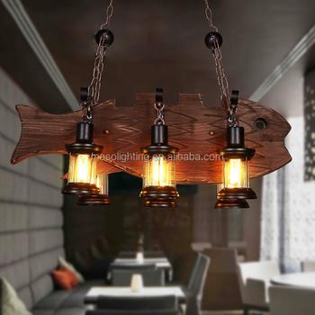 Vintage Farm House Fish Pendant Lamp Wooden Lighting Restaurant Chandelier Rustic Zhongshan