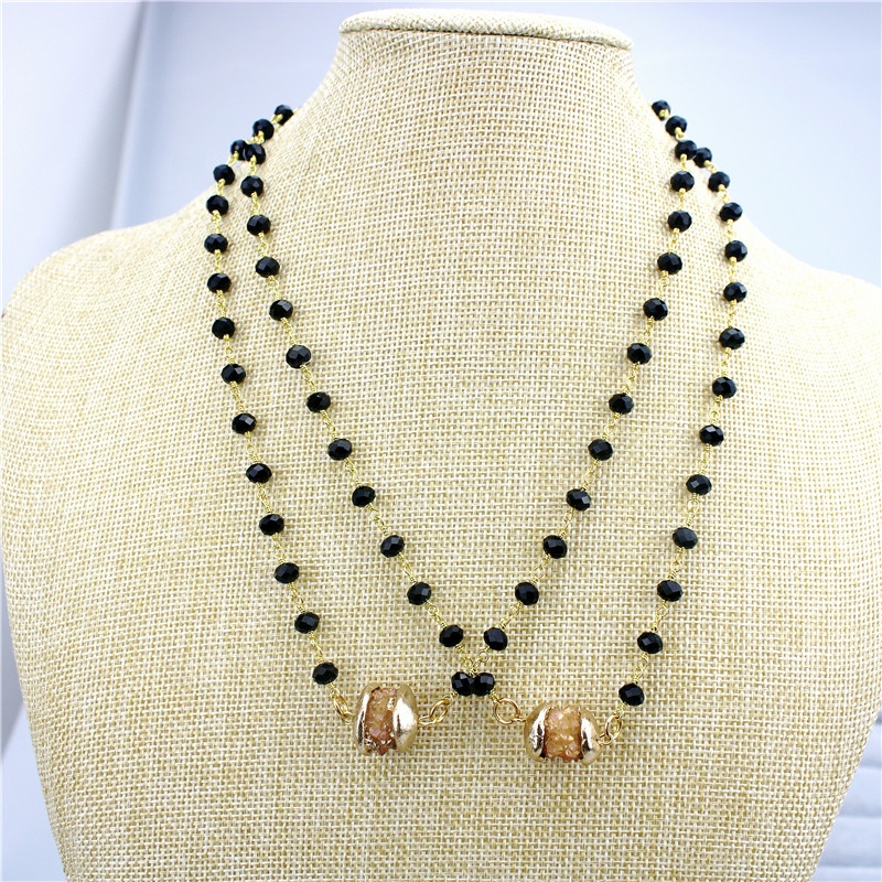 CH-GMN0009 handmade druzy necklace,rosary chains druzy plating golden connector wholesale
