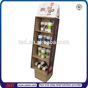 TSD-C204 retail floor cardboard paper mug cup display/pos cardboard cup display for sale/paper cup display