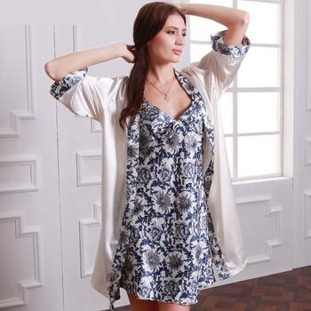 Womens Faux Silk Luxury 2 Piece Sleepwear Sets 04b040ba2
