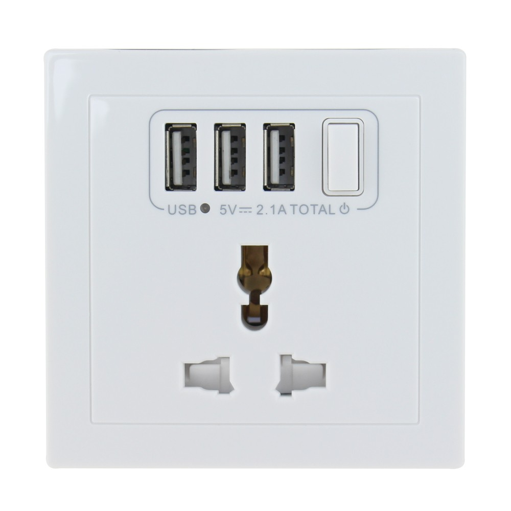 multi plug socket 3 usb metal electrical 3 pin 10a multi functional 3 pin plug socket