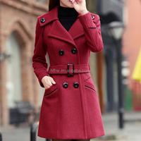 W91903A 2015 latest design women winter coat ladies long tweed coat