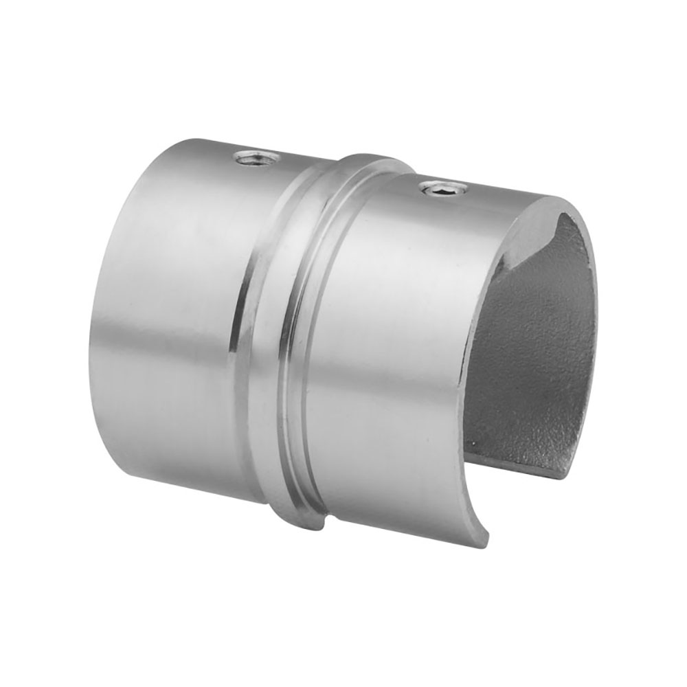 Single Slot 42.4Mm Glass Balcony Balustrade Fittings Round Steel Tube Connectors