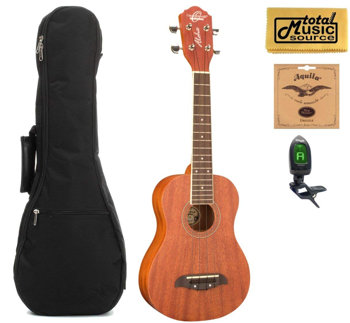 Oscar Schmidt 4 String Concert Ukulele, OU2, All Birch Construction, Chrome Diecast Tuners, with HD Padded Gig Bag, Clip-On-Tuner, EXTRA Set of 7U Aquila Nylgut Strings, TMS Polishing Cloth