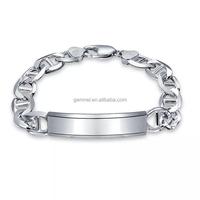 Latest Copper Alloy Blank Bar Custom Engraved Silver Bracelets For Men