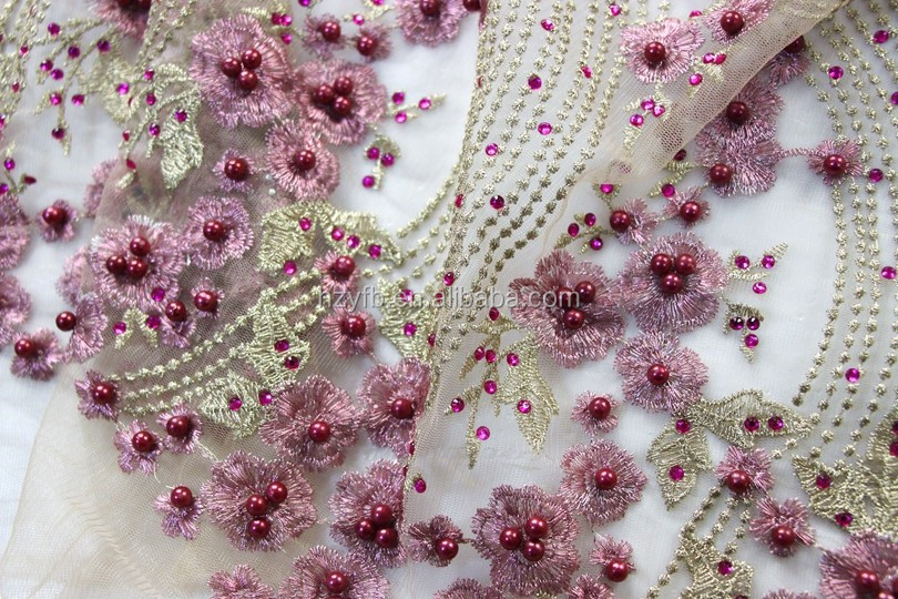 2016 Indian Bridal Lace Fabric Fashion Special Design 3d Flower ...