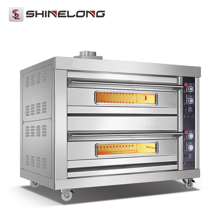 Full Series Luxury Hotel Bakery Electric 4-Trays Double Gas Deck Oven