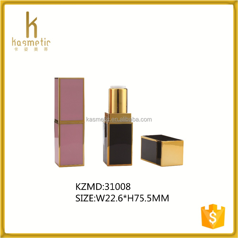 Square pink and black luxury empty gold lipstick packaging lip stick containers