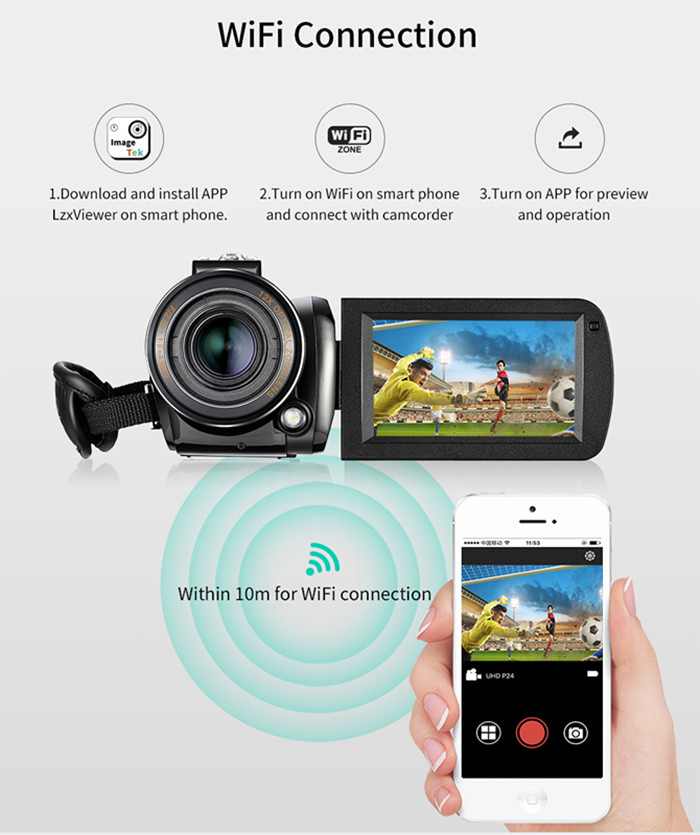 Ordro Original Camera 4K Optical with IPS Touch Screen Optical zoom Wifi 4k Ultra HD Video Camera 4K Professional Camcorder