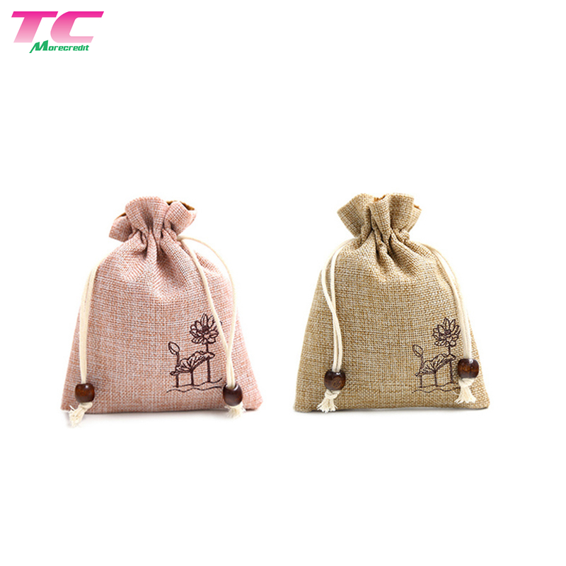 10 x 8cm Mini Burlap Drawstring Bag  Factory, Lotus Logo Printed Jute Jewelry Bag With Wooden Beads