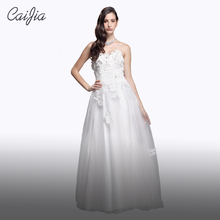 Caijia Pure White Strapless Applique and Beading Ball Gown Wedding Dress With Lacing