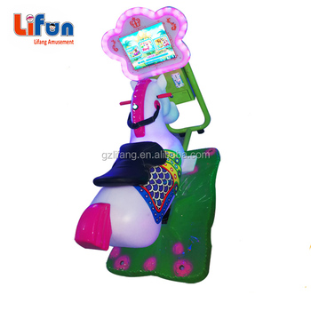 Flower Shape Monitor 3D video arcade Coin Operated Horse racing game machine amusement Kids Games Ride horse 3d swing horse