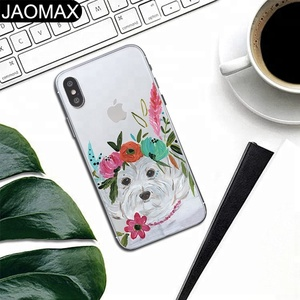 Cute Bulldog Personality Painted Custom Design Soft TPU Clear Phone Case For iphone X 6S 6 7 8 Plus Cartoon Phone Cover DIY