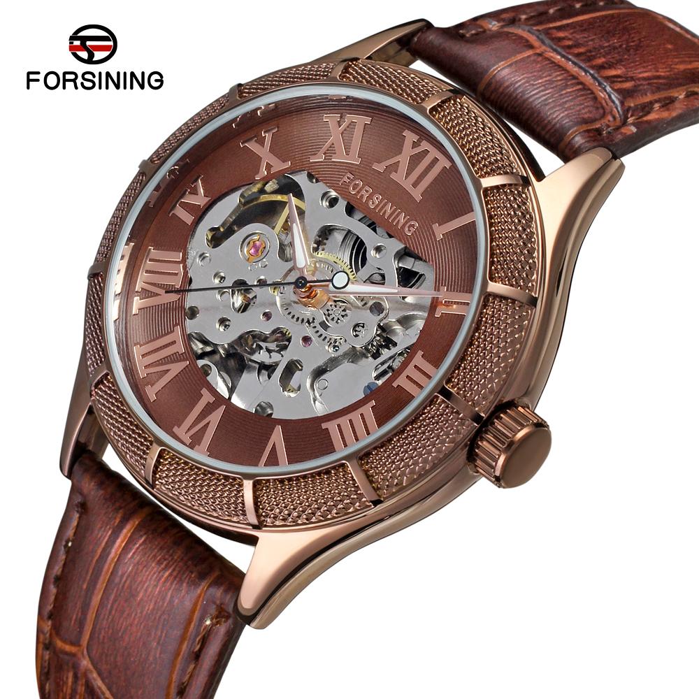 677f07ecff4 China Forsining tiras de couro Vogue atacado esqueleto simples cor de café  relógio para homens