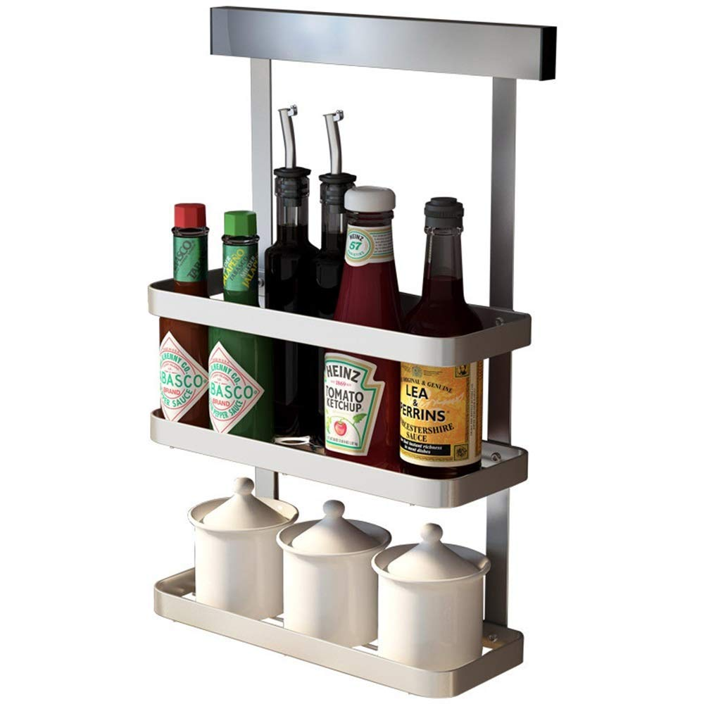 YChoice Rack Decor Punch-Free Stainless Steel Kitchen Seasoning Rack Wall-Mounted Racks Three-Layer Seasoning Seasoning Seasoning Shelf Wall Hanging