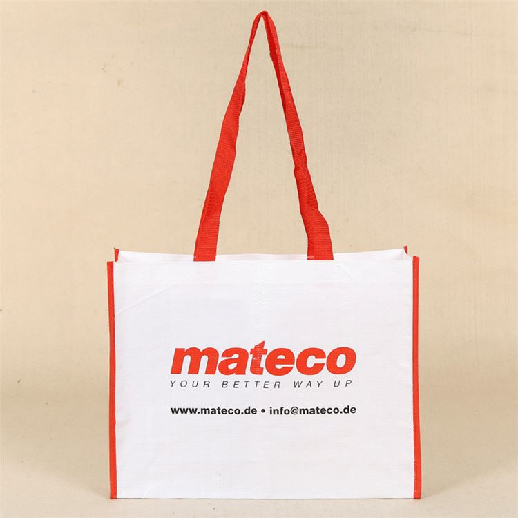 Latest arrival recyclable red long handle white custom cheap tote woven pp bag