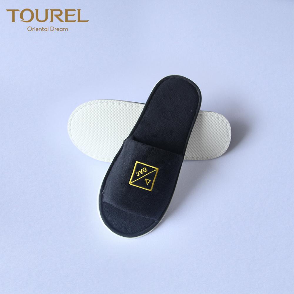 Preço baixo de veludo de algodão do hotel chinelos descartáveis chinelo macio personalizado