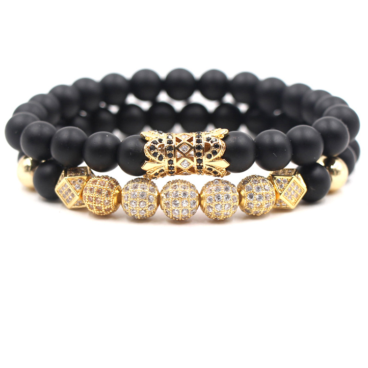 2019 New Zircon Ball Strand Bracelet Men Inlay CZ Pave Natural Stone Beads Bracelets Set For Wholesale Jewelry (KB8085, As picture