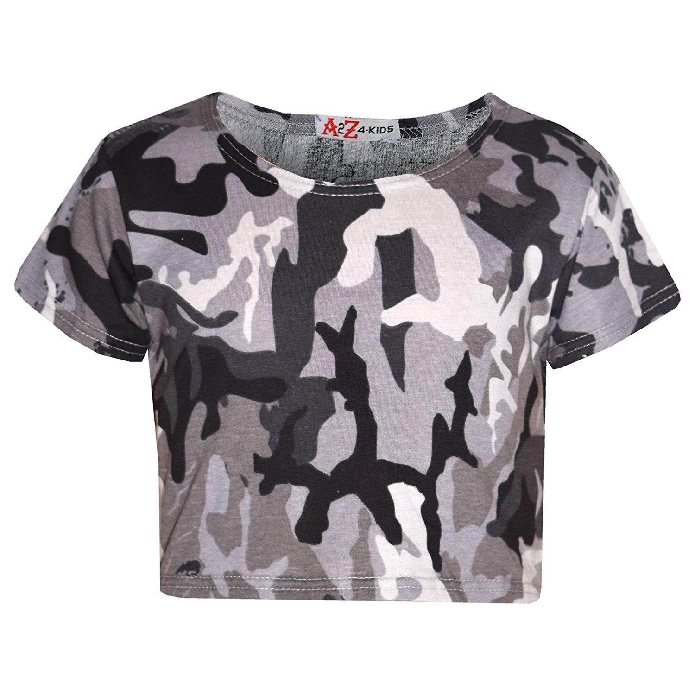 681010a09aa6 A2Z 4 Kids® Girls Top Kids Camouflage Crop Top Legging Midi Skater Dress  Playsuit 7