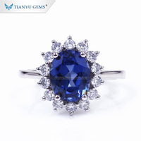 Tianyu factory wholesale 7*9mm Oval cut Sapphire &Round white moissanite halo lady promise engagement ring