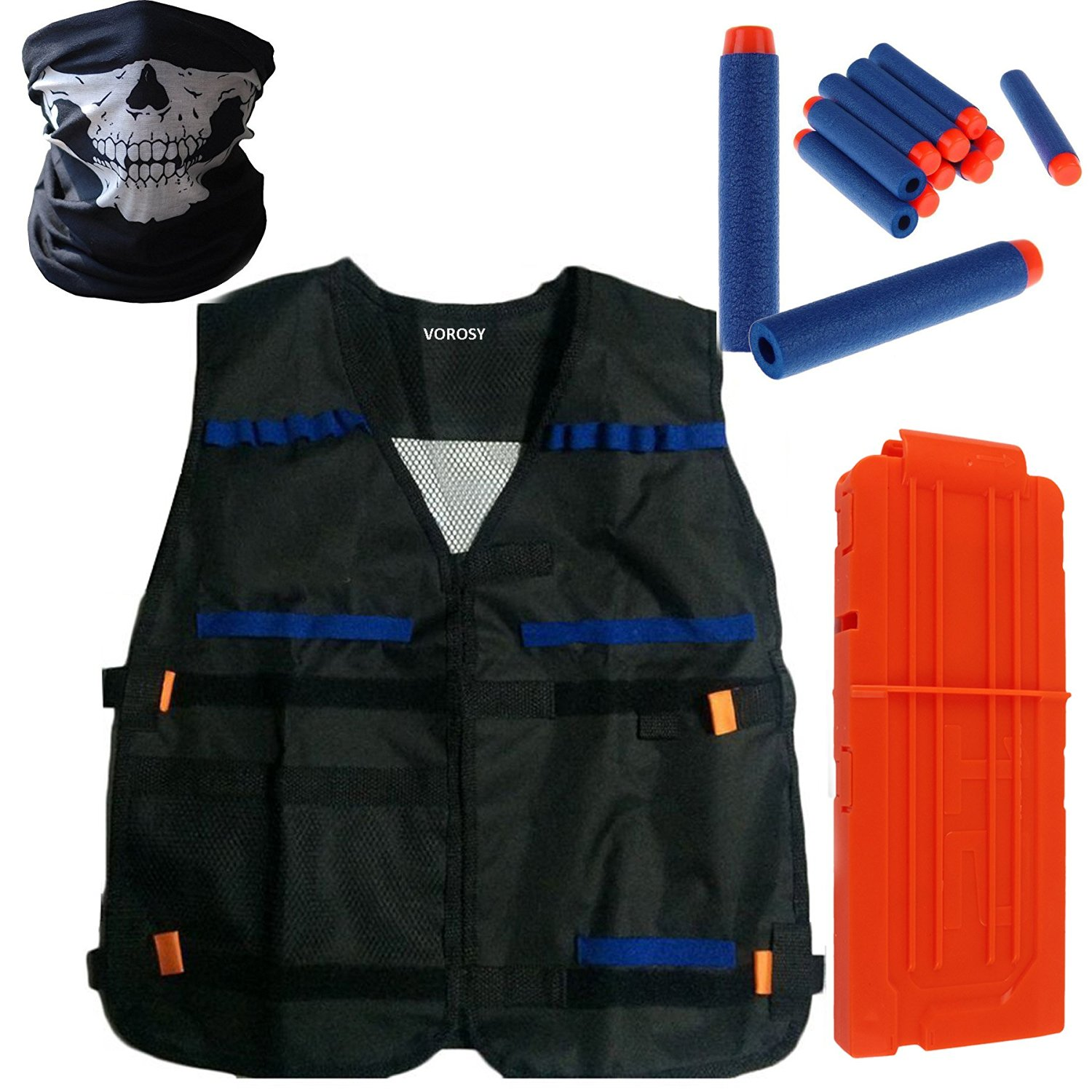 VOROSY 12 Refill Bullet Darts Quick Reload Clip for Toy Gun Nerf N-strike Elite Blasters with tactical vest + 12pcs blue toy darts + face tube mask